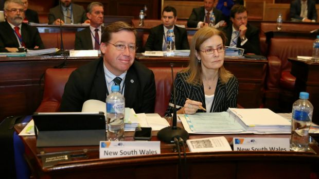 """""""Barely on speaking terms"""": Deputy Premier Troy Grant and NSW Attorney General Gabrielle Upton during the Law Crime and ..."""