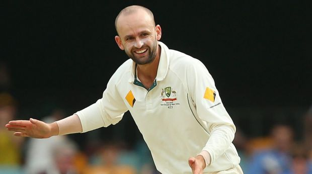 Success: Nathan Lyon celebrates his dismissal of New Zealand's Kane Williamson on day four of the first Test at the Gabba.