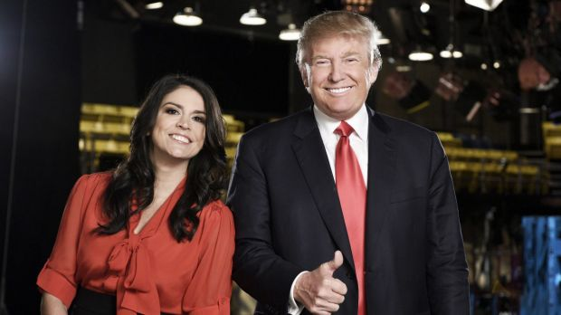Donald Trump on the set of <i>Saturday Night Live</i> with cast member Cecily Strong.