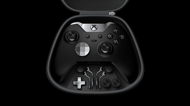 The controller comes in a protective carry case with three sets of sticks, four paddles and two directional pads.