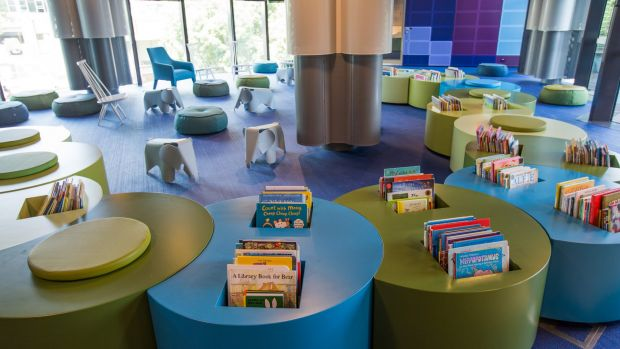 "The ""nest"", the children's section on the first floor, features furnishings designed to resemble The Very Hungry Caterpillar."