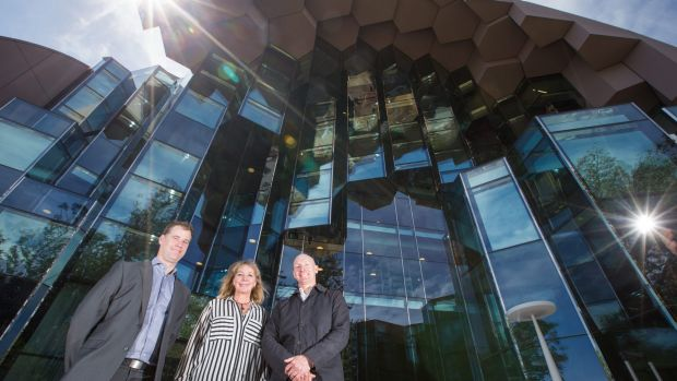 City of Greater Geelong capital projects manager Scott Cavanagh, arts and culture manager Kaz Paton and ARM Architects ...