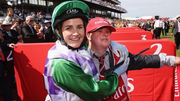 Michelle Payne celebrates with brother Stephen after the Melbourne Cup.