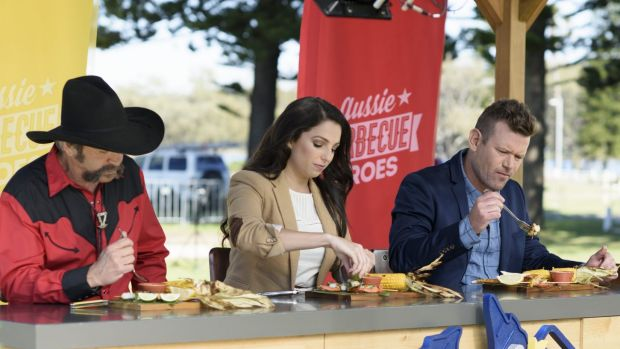 The judges of Aussie Barbecue Heroes give dishes from a challenge the taste test.