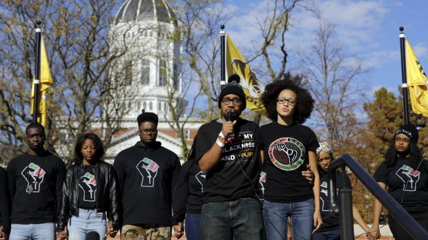 Jonathan Butler addresses students on Monday following the announcement that University of Missouri president Tim Wolfe ...