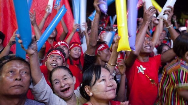 Jubilation among NLD supporters in Yangon on Monday.