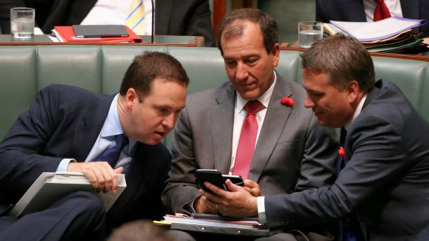 Mal Brough, with fellow ministers Steven Ciobo and Jamie Briggs during question time last week.