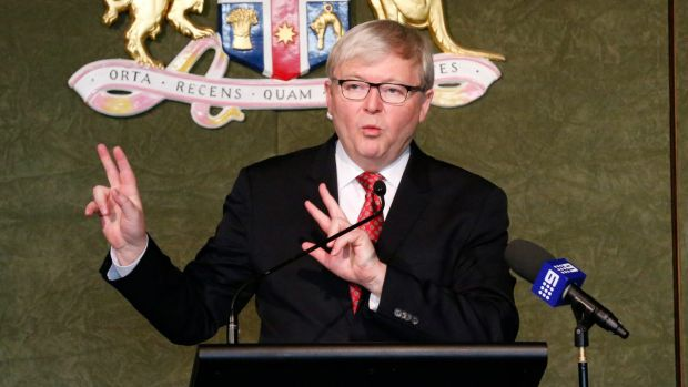 Former prime minister Kevin Rudd  has attacked George Pell while urging the Church to support action on climate change.