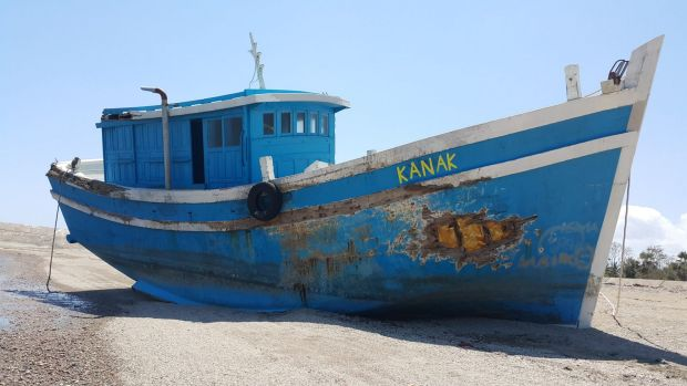 The Kanak, the boat that was stranded on the reefs near Landu Island after Australian officials allegedly paid people ...