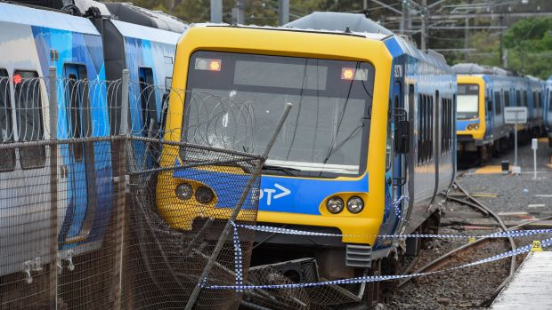 A train at Hurstbridge station was derailed after vandals broke in overnight and started it.