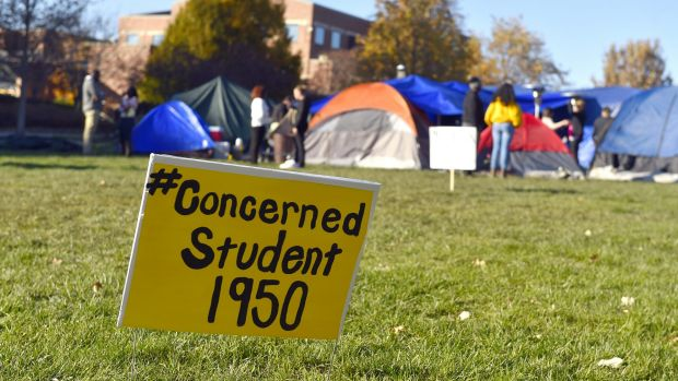 A sign is posted where student protesters have put up tents on the University of Missouri in Columbia, Missouri.