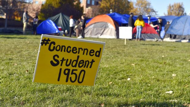 A sign is posted where student protesters have put up tents at the University of Missouri in Columbia, Missouri.