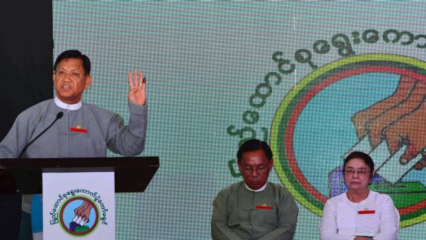 Tin Aye, chairman of the country's election commission, at an event to announce  results in the capital Naypyitaw on Tuesday.