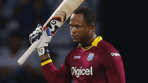 West Indies' Marlon Samuels acknowledges the crowd after scoring a century during a one-day international against Sri ...