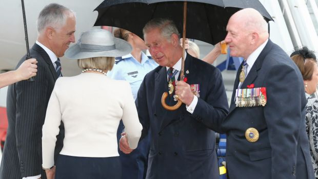 Prince Charles is greeted by Prime Minister Malcolm Turnbull, Lucy Turnbull and Governor-General Sir Peter Cosgrove on ...