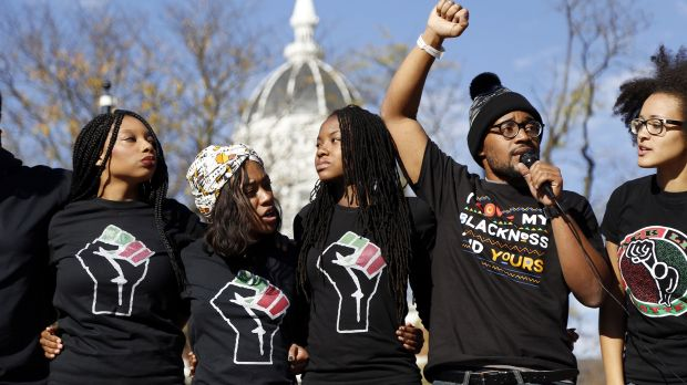 Concerned Student 1950, led by University of Missouri graduate student Jonathan Butler, second from right, speaks ...