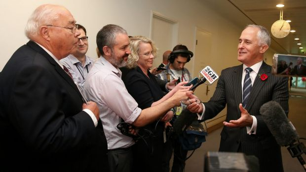 Prime Minister Malcolm Turnbull answers questions from journalists at Parliament House on Wednesday.