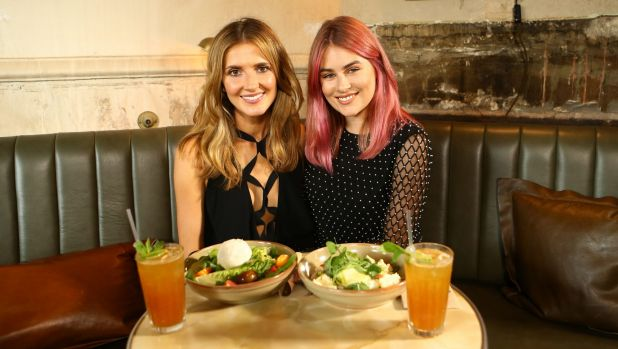 Kate Waterhouse and Carissa Walford enjoy salad at Hotel Palisade, Millers Point.