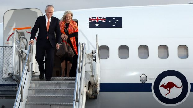 Malcolm Turnbull, pictured with his wife Lucy Turnbull on his first international trip as Prime Minister, to New ...