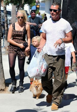 Gavin Rossdale out with sons, Kingston and Zuma and their nanny Mindy Mann on September 08, 2013 in Los Angeles.