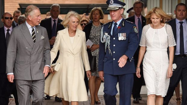 Prince Charles and the Duchess of Cornwall with police commisioner Andrew Scipione and his wife, Joy.