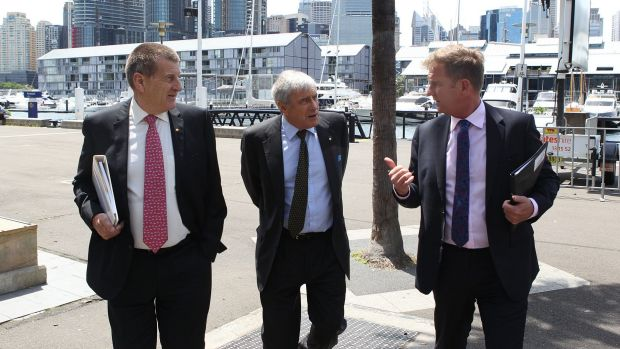 Jeff Kennett, left, with Kerry Stokes and Tim Worner, has been a forthright defender of Seven West's position on the matter.