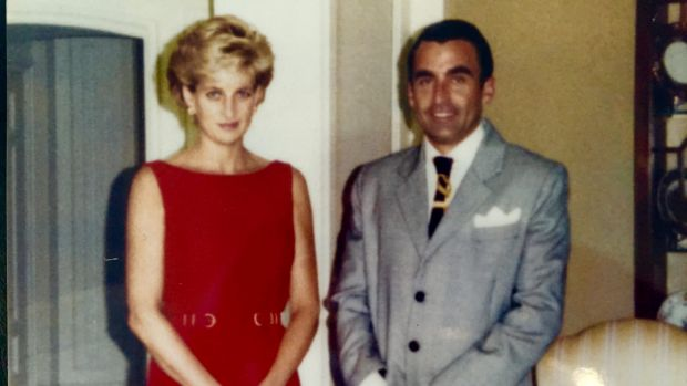 Joh Bailey with Diana during her Australian tour in 1996.