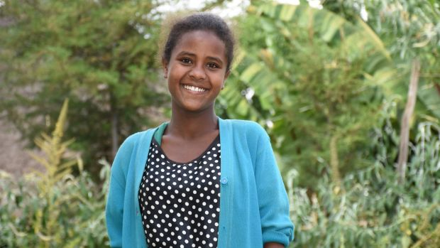 One in 500 million: 14-year-old Tigist Teferi, who will take the milestone dose of the sight-saving antibiotic Zithromax ...