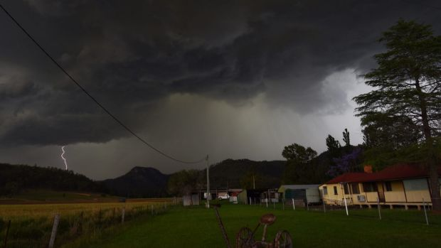 A powerful storm pumps out lightning near Milbrodale in the Hunter on Thursday.