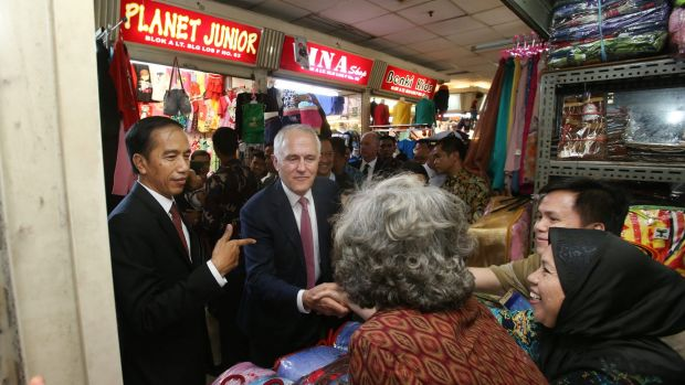 Prime Minister Malcolm Turnbull with Indonesian President Joko Widodo in Jakarta during last week's visit.