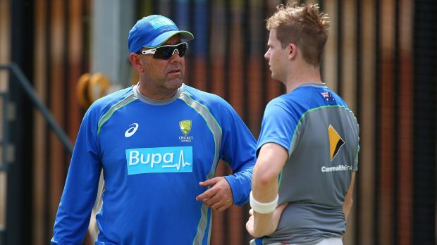 Darren Lehmann talks to Steve Smith during a nets session at the WACA on Thursday.