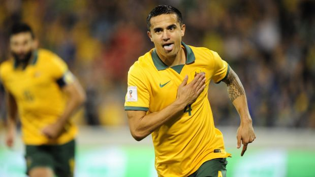 No A-League stint this season: Socceroos veteran Tim Cahill celebrates after scoring a goal.