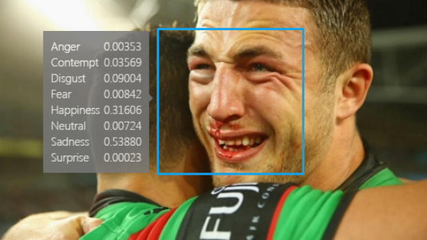 Complicated: The app detected sadness instead of happiness as Sam Burgess and the Rabbitohs won the 2014 NRL premiership.