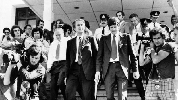 Malcolm Fraser leaves Parliament House in 1975. A new seat in Victoria will be named after the former prime minister.