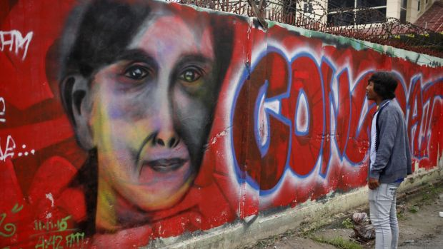 Graffiti congratulating Aung San Suu Kyi and her party's election victory last year.