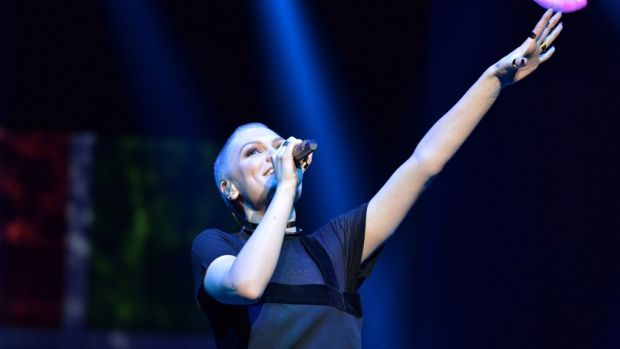 Jessie J performs at the State Theatre for Microsoft fans.