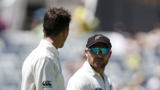 New Zealand captain Brendon McCullum, right, talks to teammate Trent Boult in Perth on Friday.