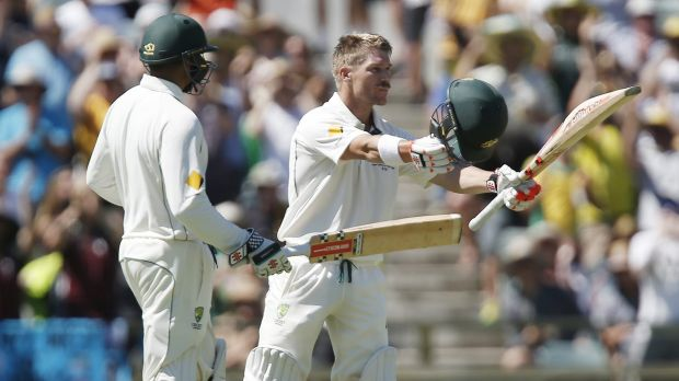 4000 to remember: David Warner celebrates his ton at the WACA.