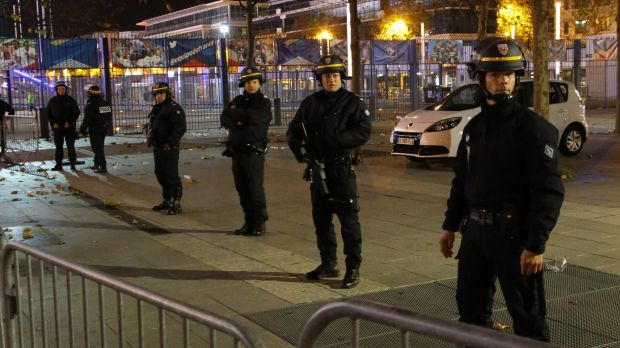 Police officers secure the Stade de France after the attack.