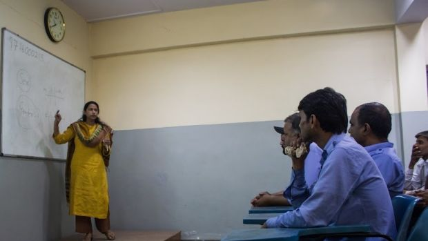 Trainer Uroosa teaches a gender-sensitisation session to bus and taxi drivers at Ashok Leyland Driver Training Institute ...