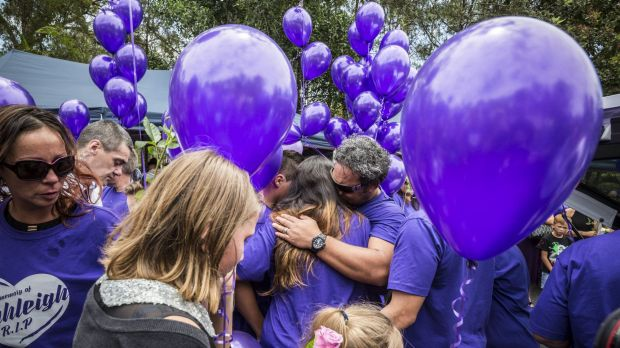 Mourners at Tiahleigh Palmer's funeral on Saturday.