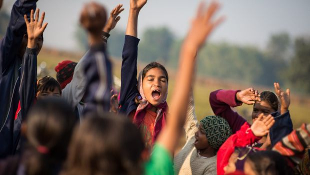 Girls gather at soccer training provided by the non-governmental organisation YUWA in Jahrkhand, India.
