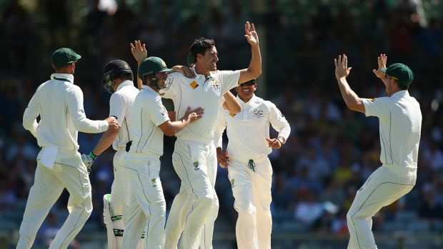 Mitchell Starc celebrates making the early breakthrough, the wicket of Martin Guptill.