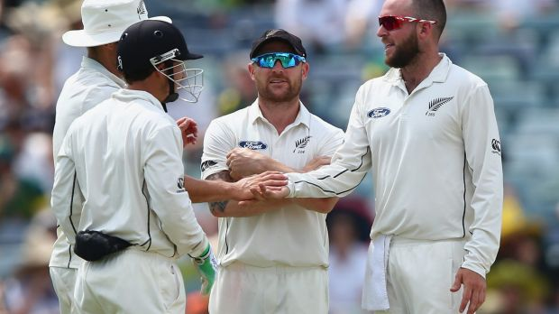 PERTH, AUSTRALIA - NOVEMBER 14:  Mark Craig of New Zealand celebrates after taking the wicket of Peter Nevill of ...