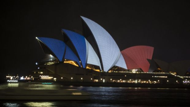 Sydney Opera House in Tricolour for France.