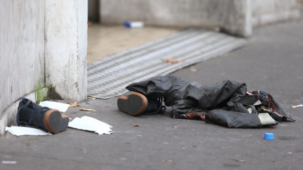 Discarded shoes outside the Bataclan theatre.
