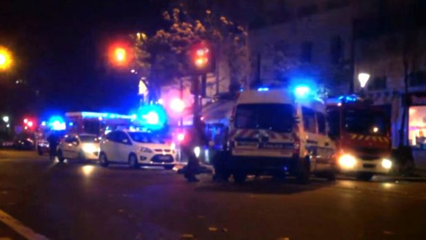 Emergency vehicles outside the Bataclan theatre.