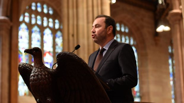 French ambassador to Australia Christophe Lecourtier speaking during a Service of Sorrow and Prayer for Paris held at St ...