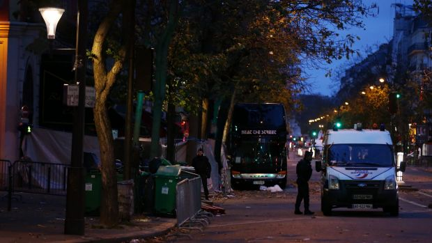 Police at Boulevard Voltaire near the Bataclan theatre in Paris, France in the hours after the attack that left 130 ...