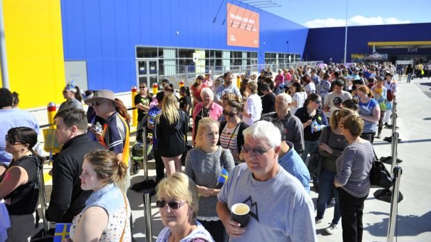 Hundreds waiting for entry to Ikea Canberra on its opening day.